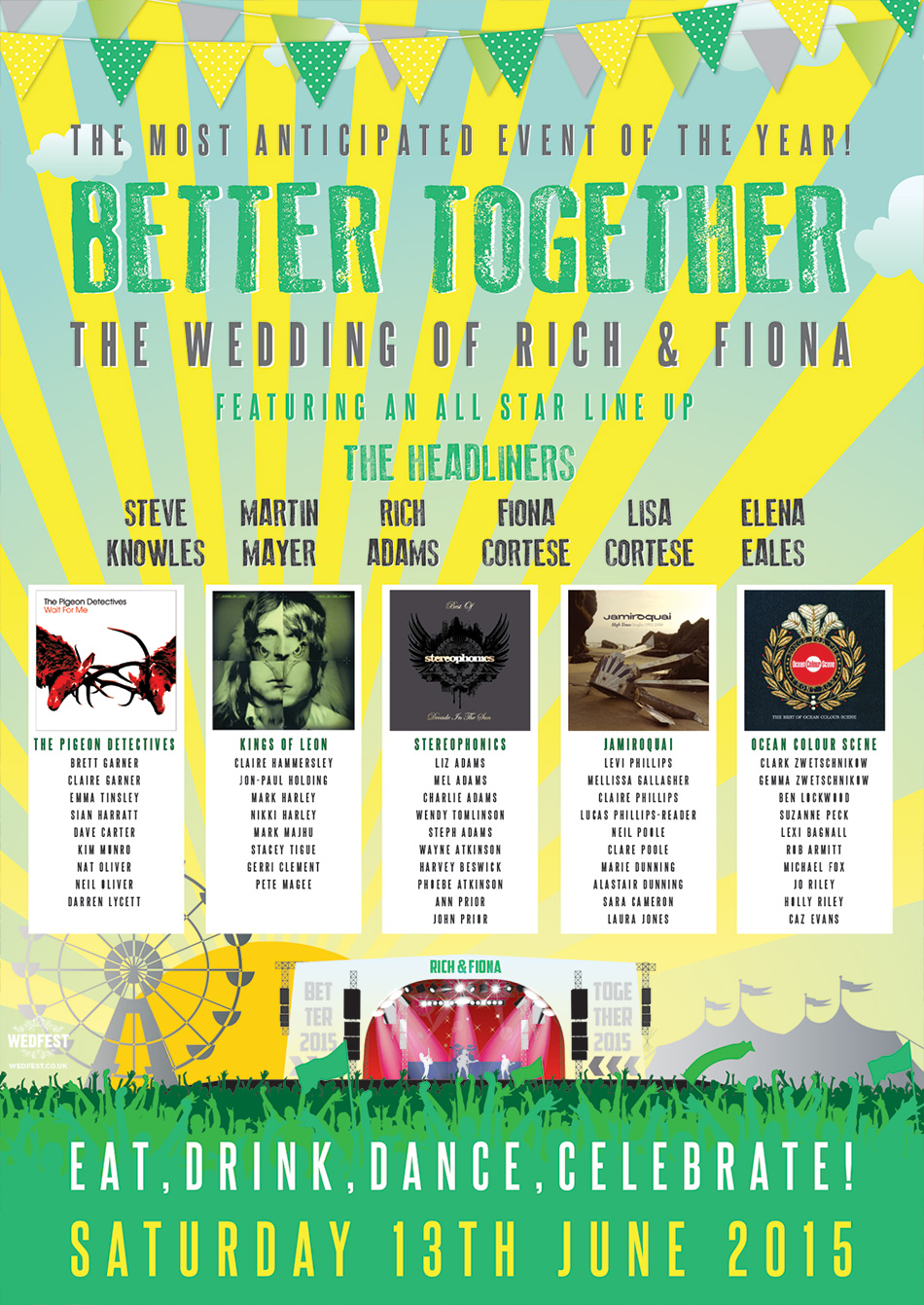 better together music festival wedding seating plan