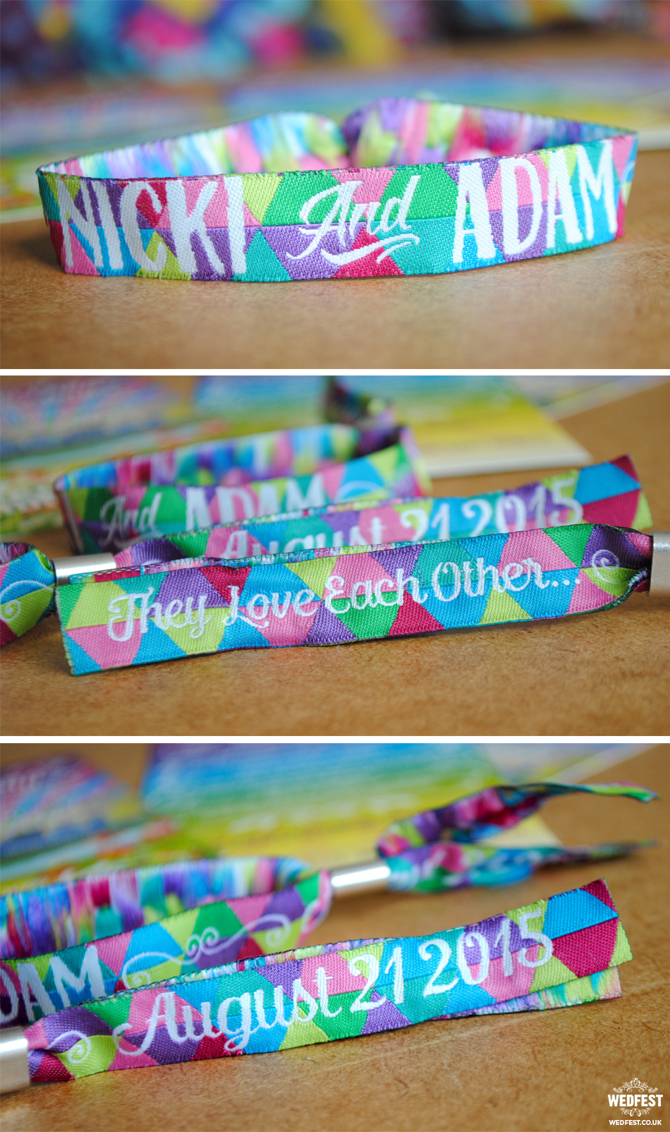 custom colourful wedding wristbands