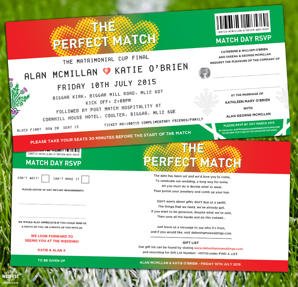 Football Ticket Wedding Invites | WEDFEST