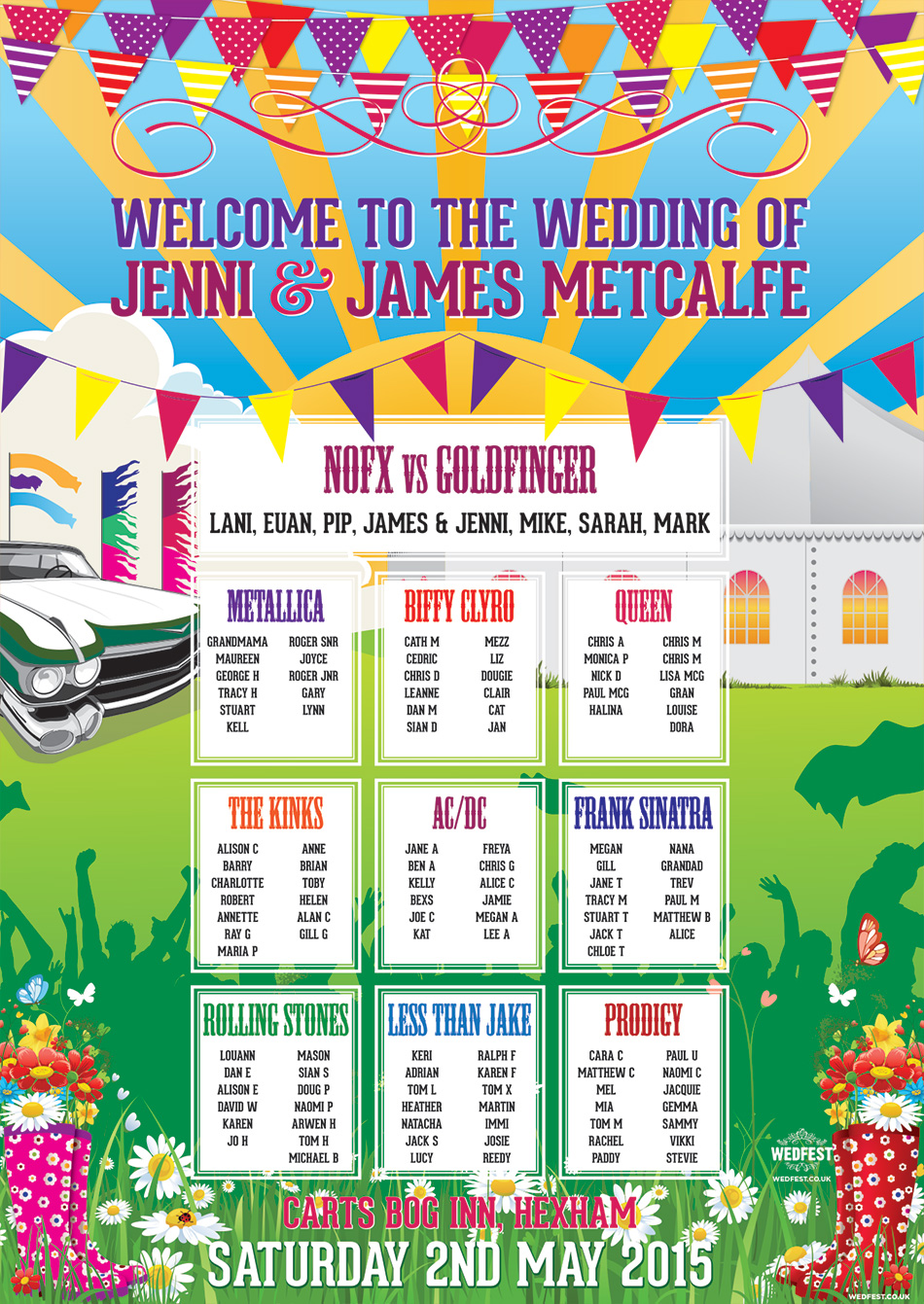 Festival Bunting Wedding Table Charts