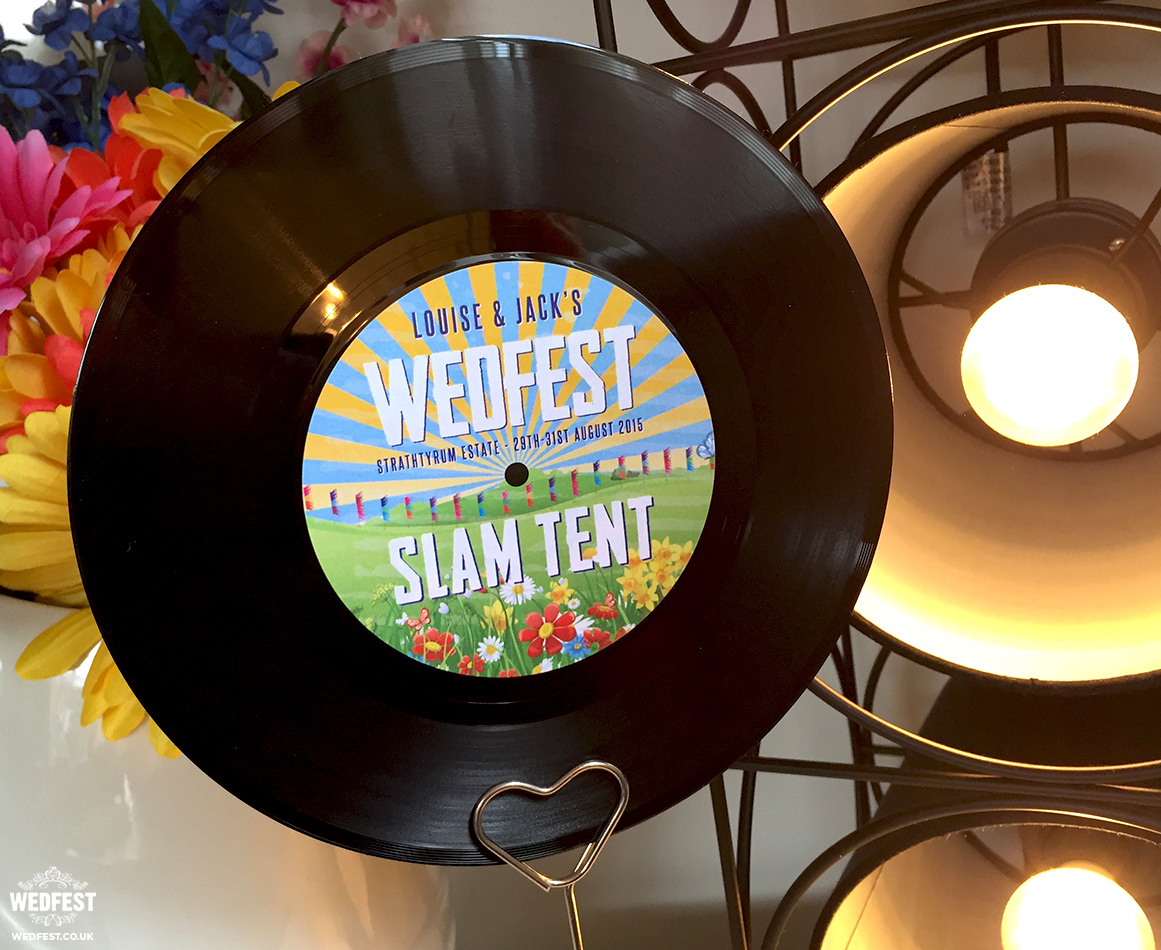 festival wedding vinyl record table name