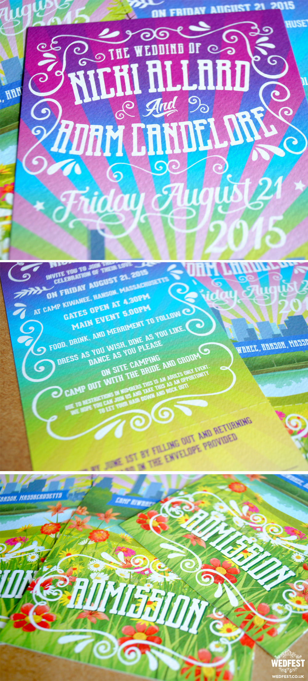 music festival wedding invitations