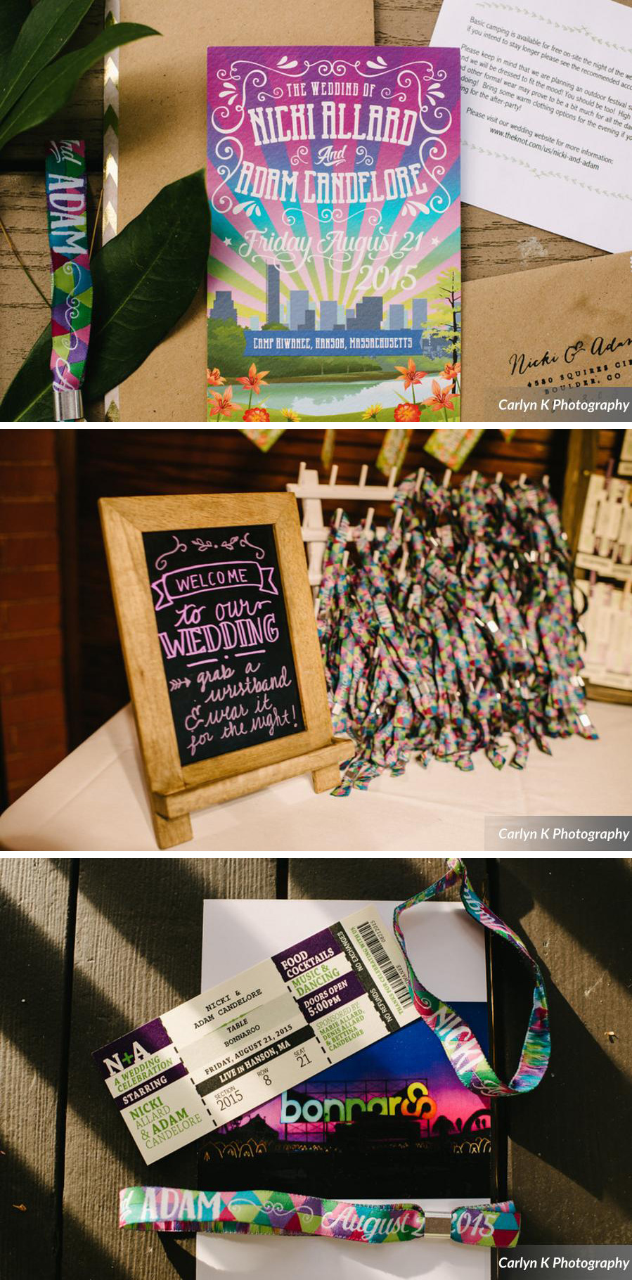 nicki and adam's festival wedding stationery