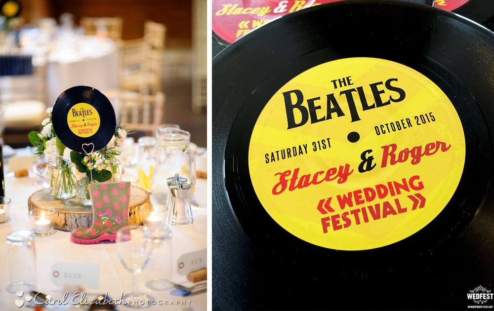 the beatles vinyl record wedding stationery