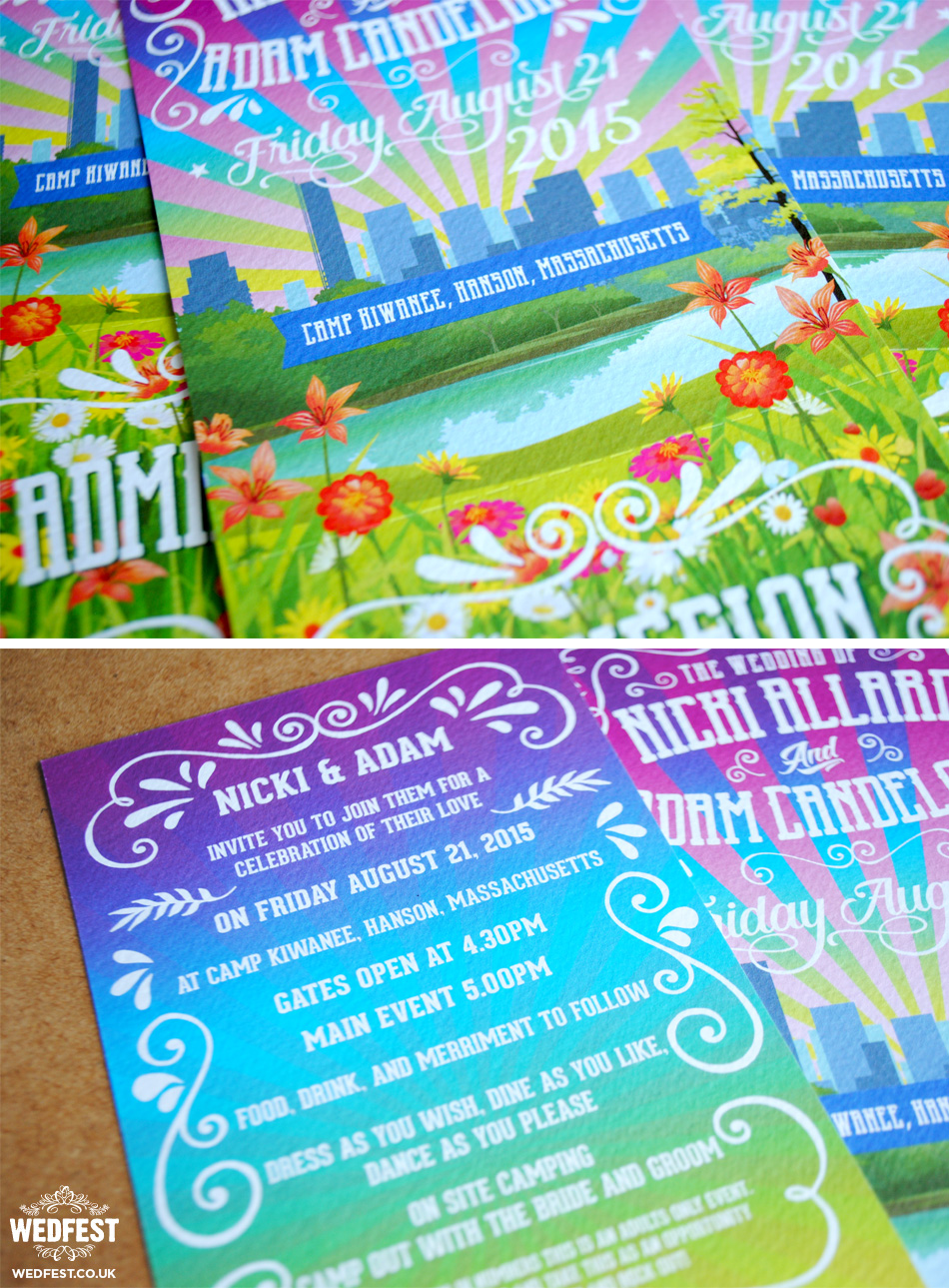 music festival wedding invites