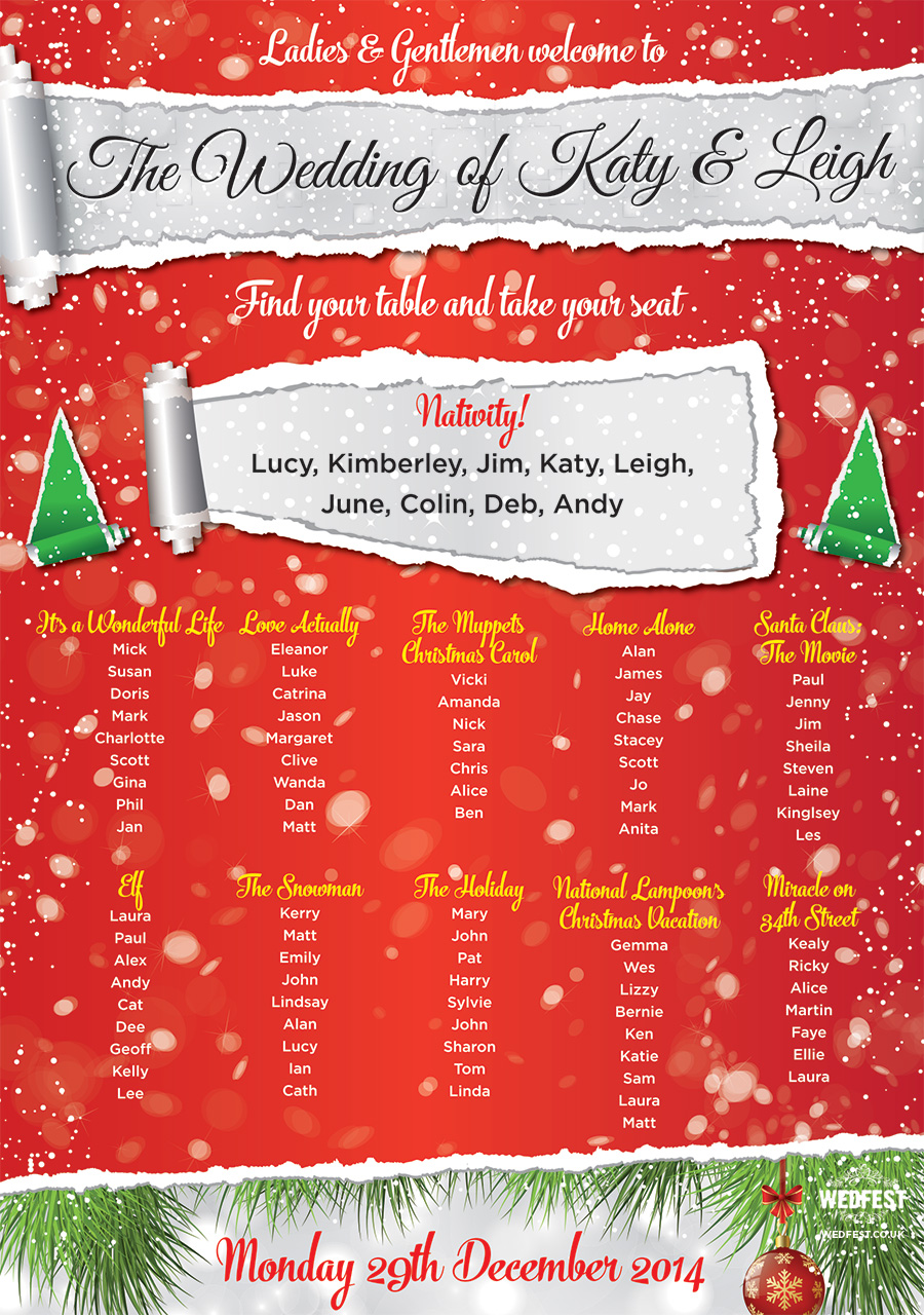 christmas theme wedding table plan
