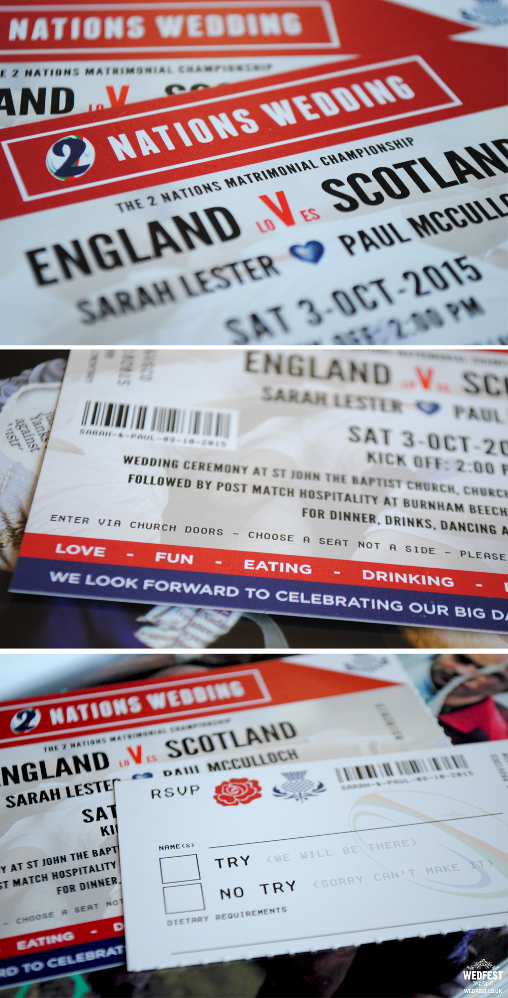 rugby ticket wedding invites