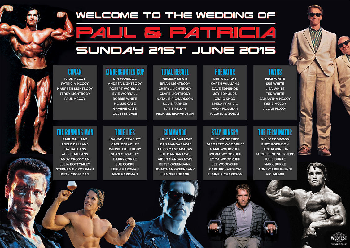 Arnold Schwarzenegger movies wedding table seating plan