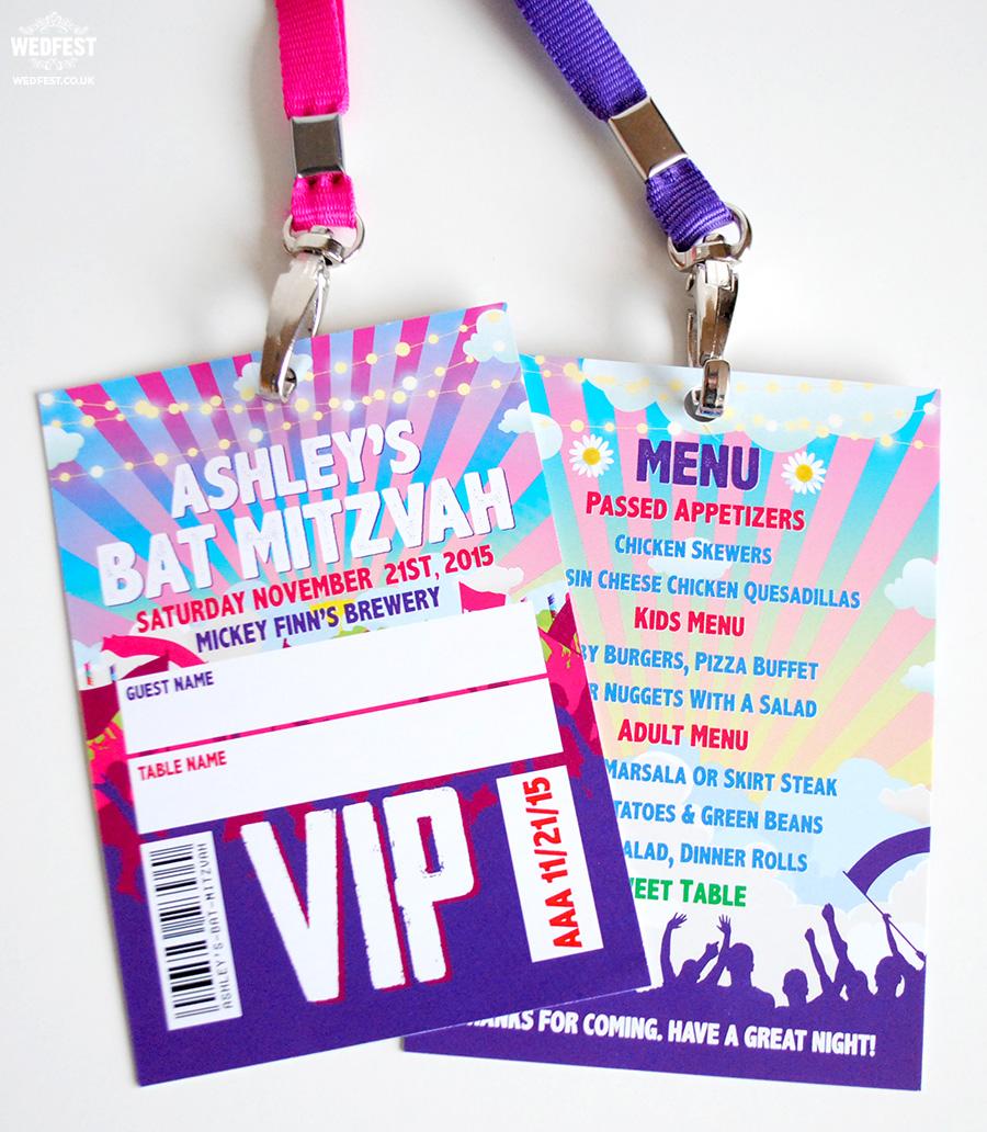 bat mitzvah vip festival lanyards