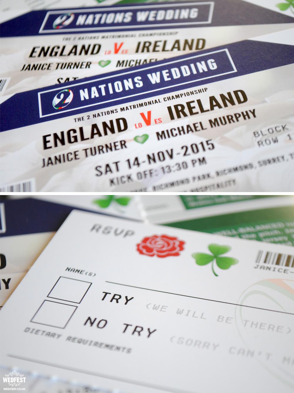 England Ireland rugby wedding invites