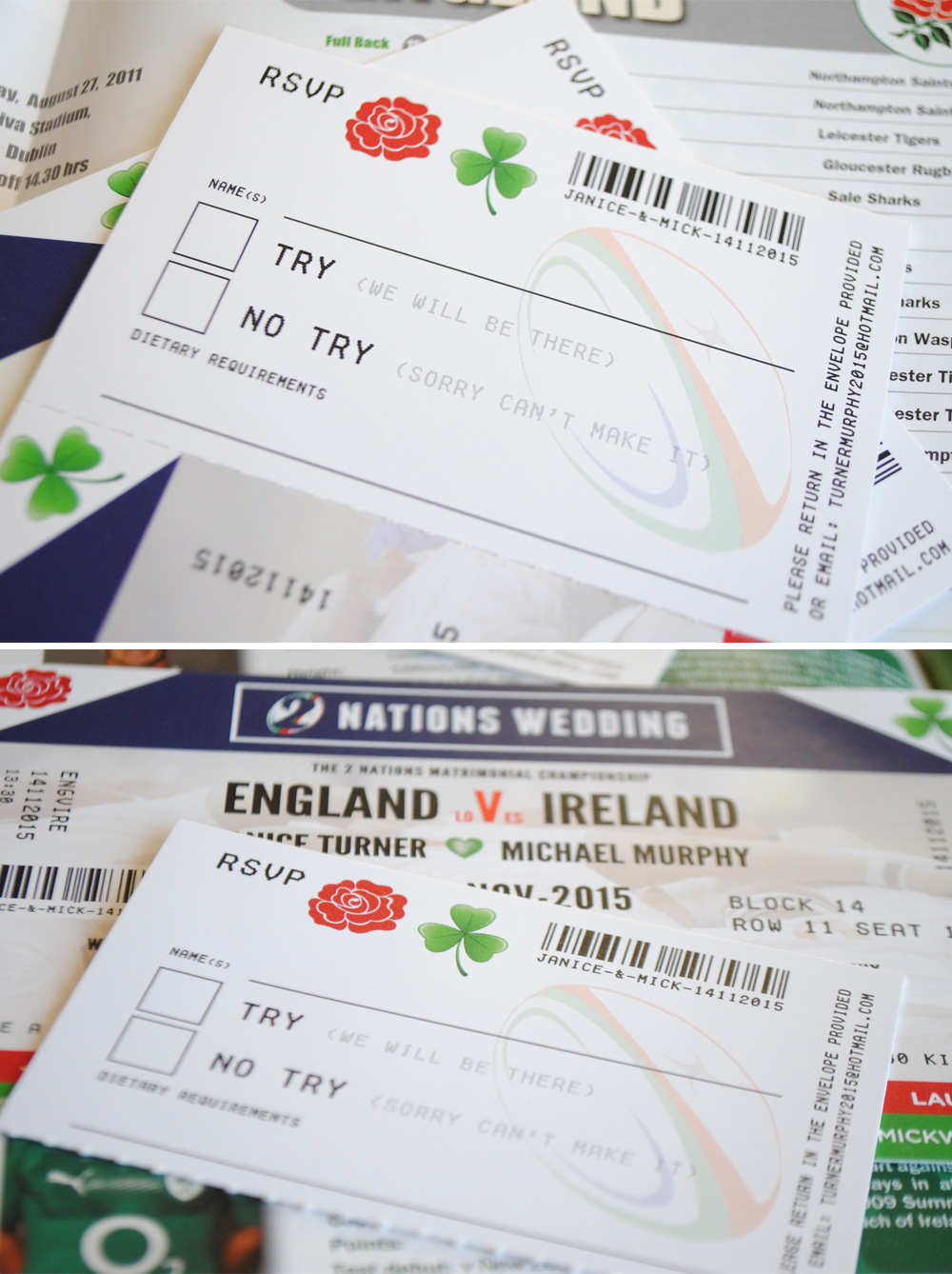 Ireland rugby wedding invitation