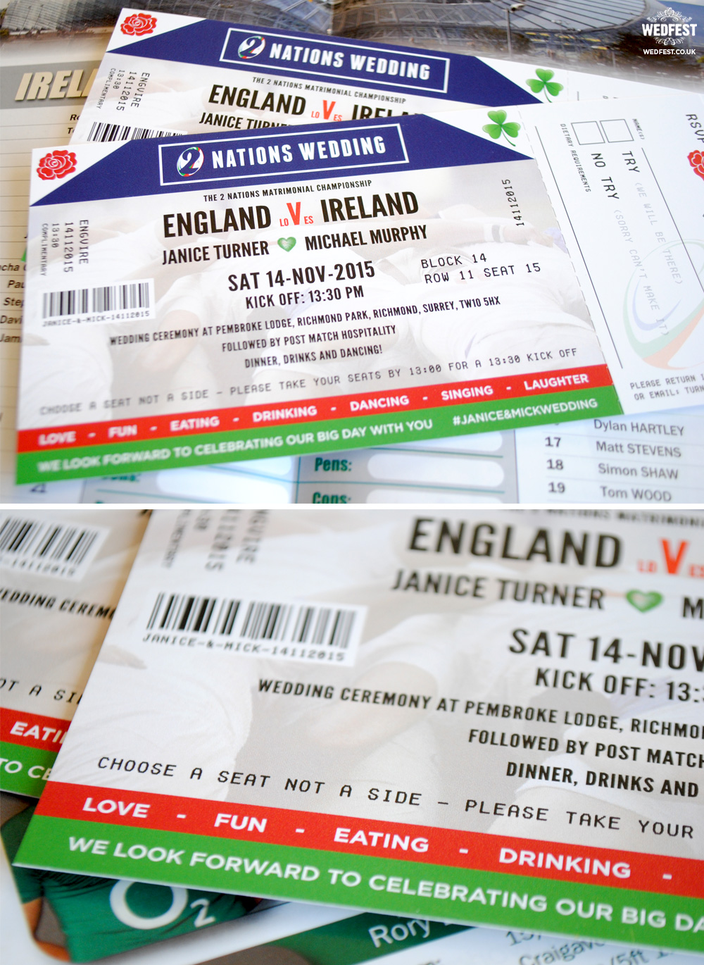 Ireland vs England rugby ticket wedding invitation