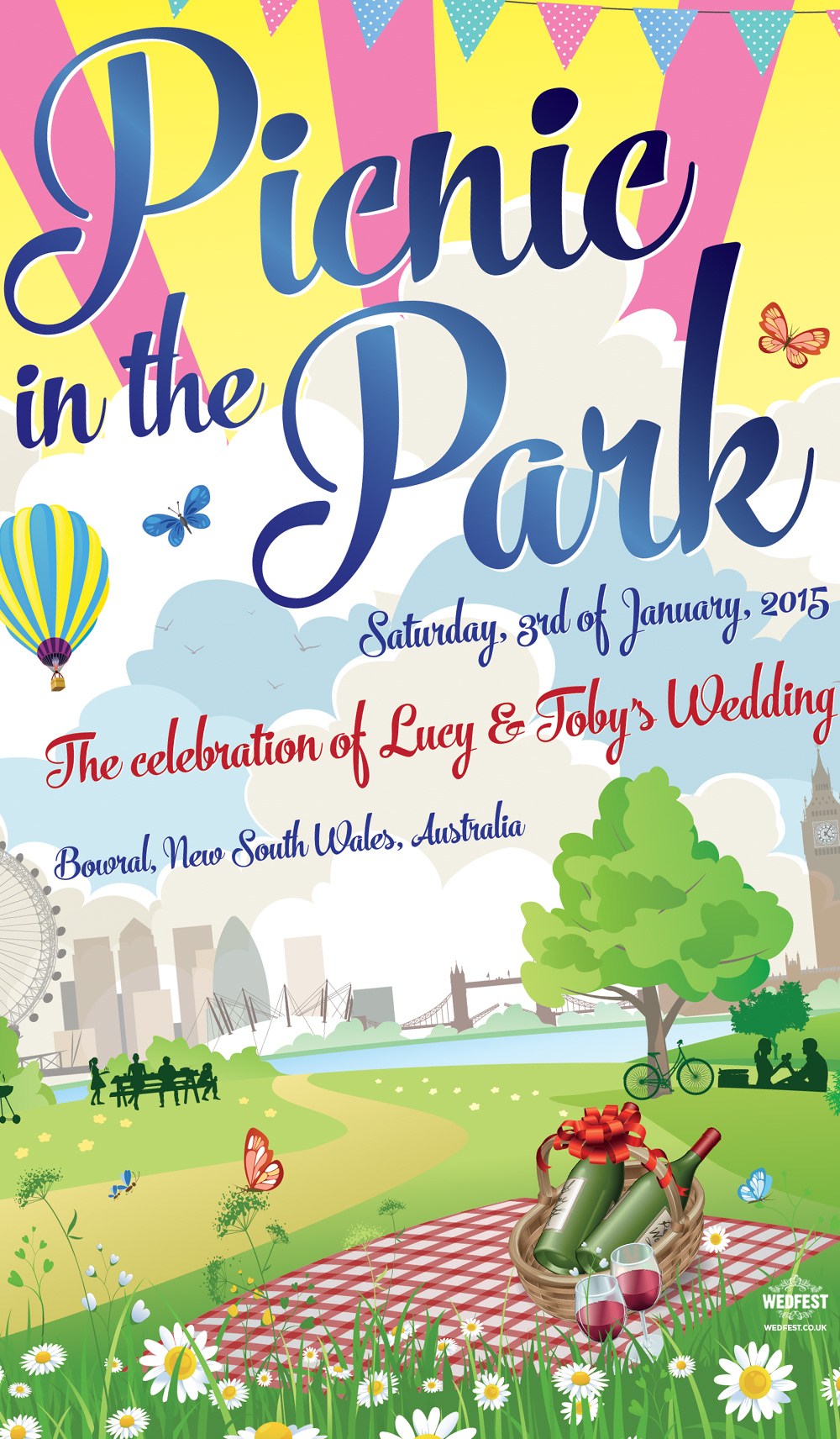 London Picnic theme wedding