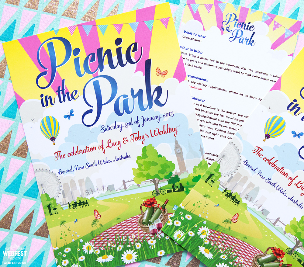 London Picnic Themed Wedding Invitations