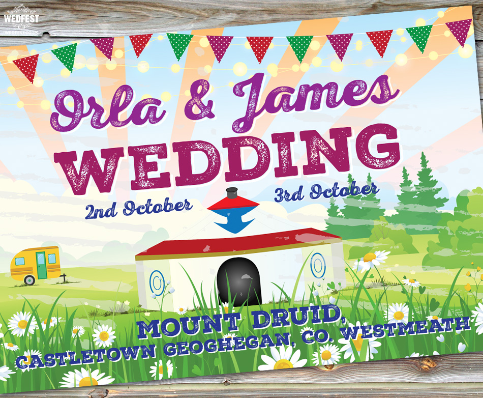 mount druid festival wedding invite