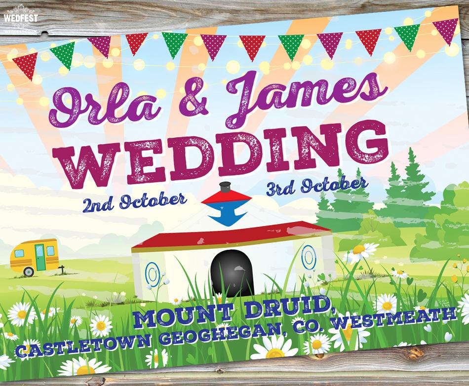 mount druid festival wedding invite