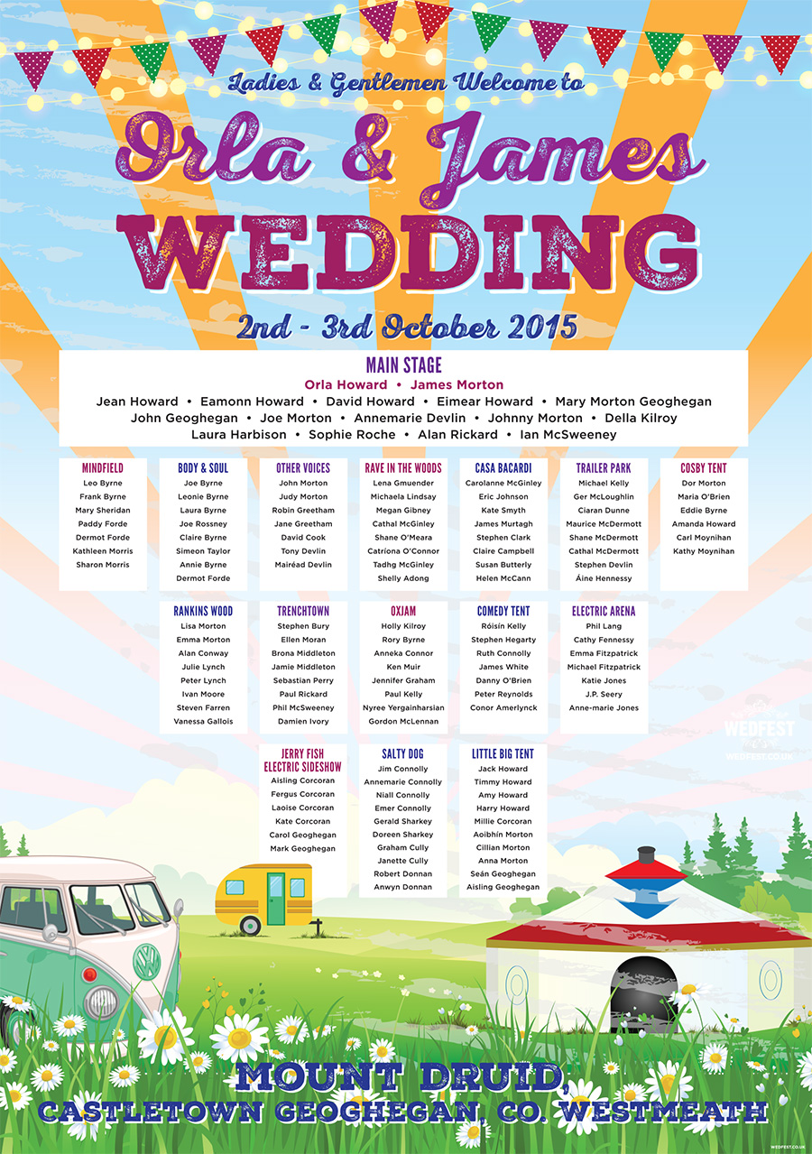 mount druid Festival Wedding Ireland table plan