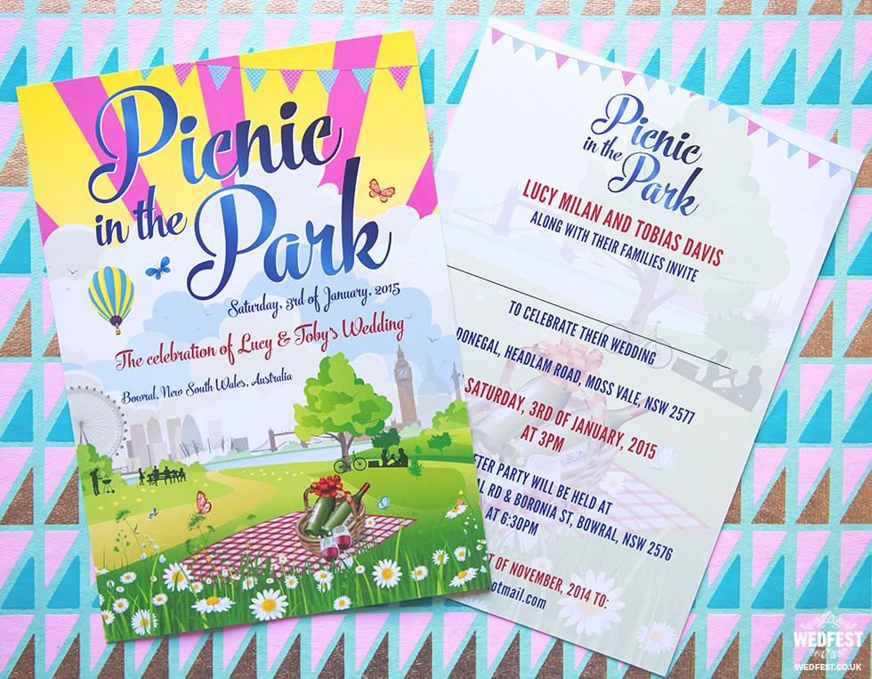 Picnic in the Park London Wedding Invites