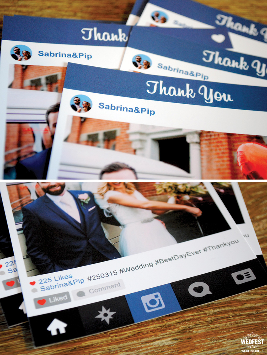 instagram photo wedding thank you note