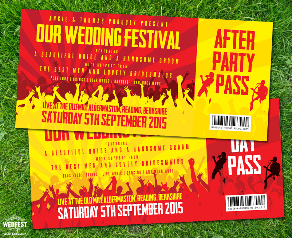 concert ticket wedding invites