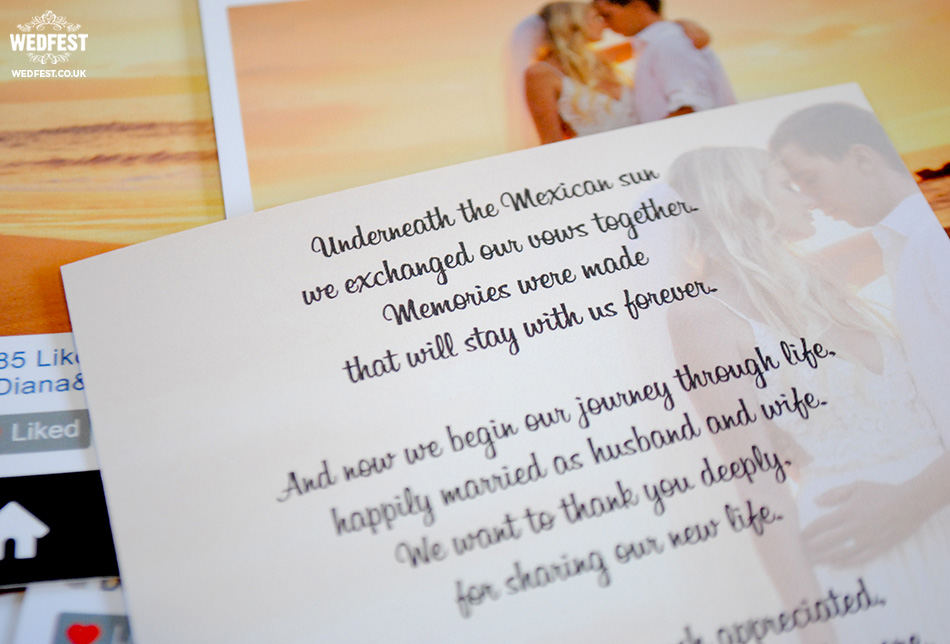 wedding thank you poem cards