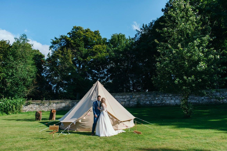 wedfest bride & groom camping tent