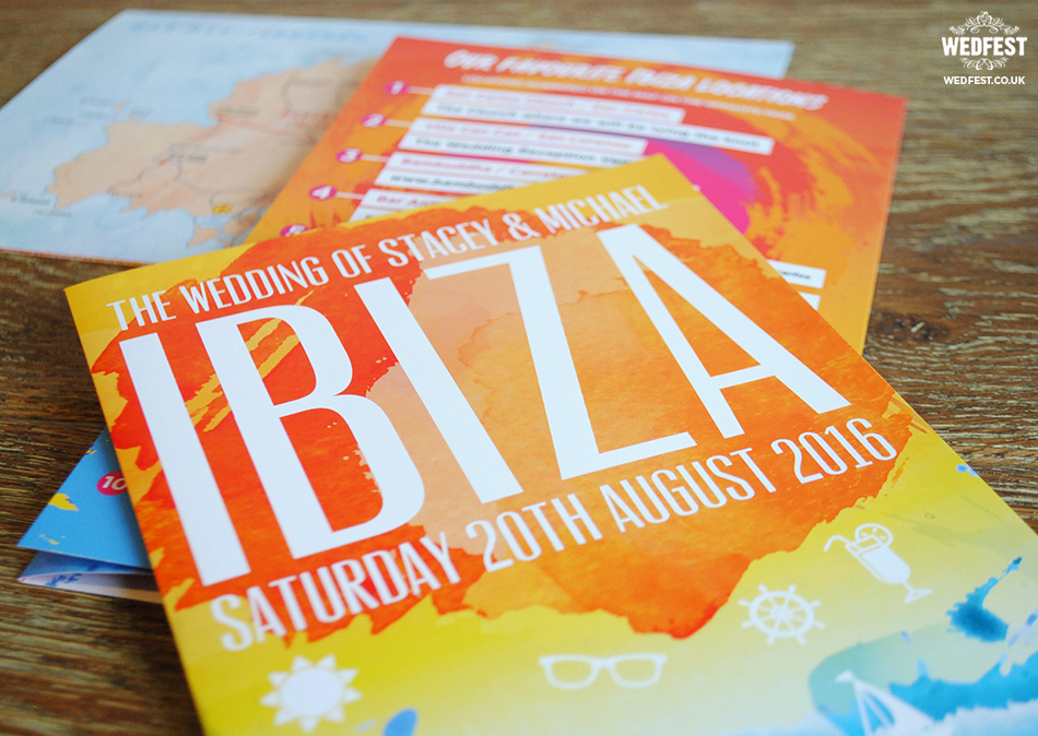 ibiza themed wedding invitation