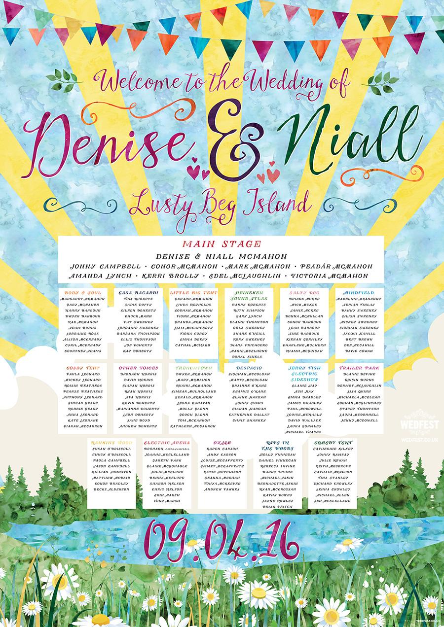 watercolour festival wedding table plan