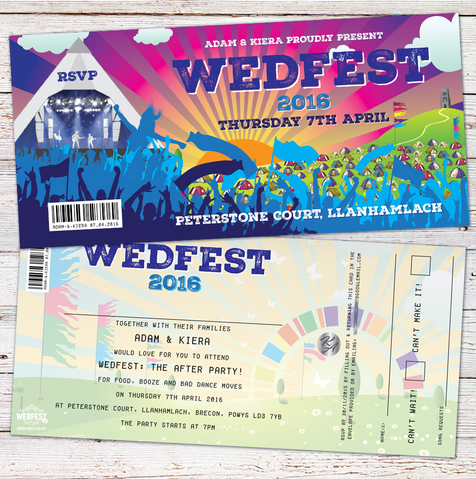 wedfest festival theme wedding invitation