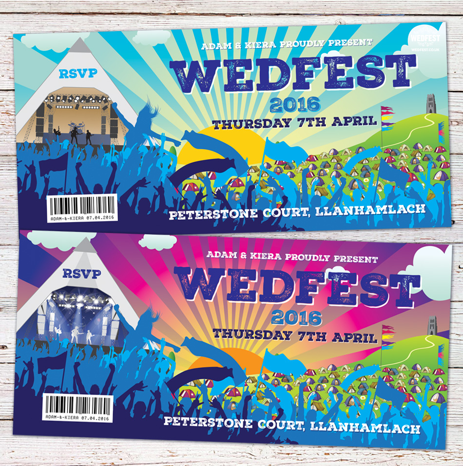wedfest festival wedding invite
