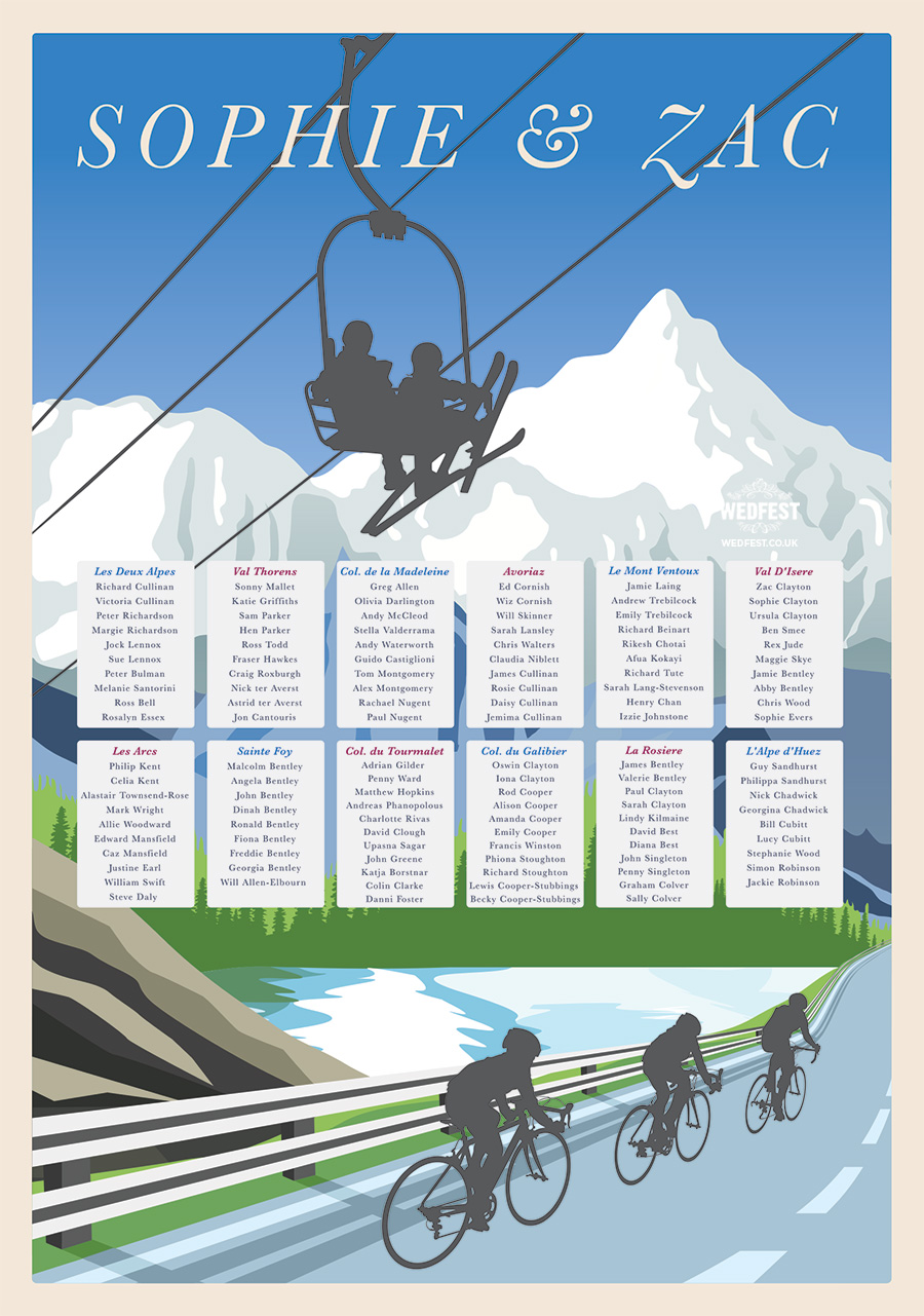 ski and cycling themed wedding table seating plan