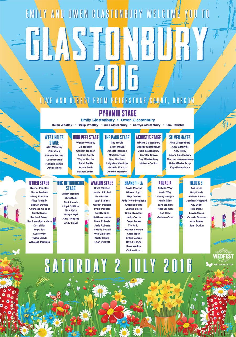 glastonbury festival wedding table seating plan