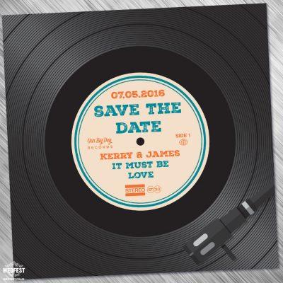 vinyl record wedding invitation
