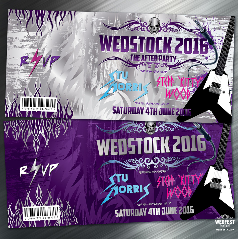 wedstock heavy metal wedding invites