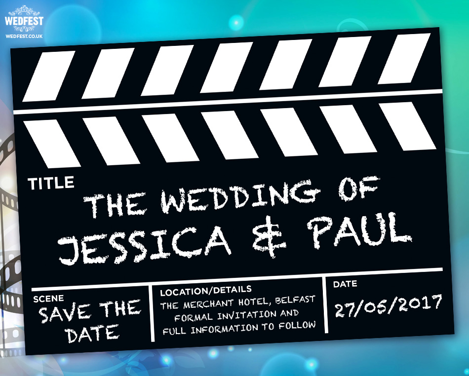 movie clapperboard wedding save the date cards wedfest