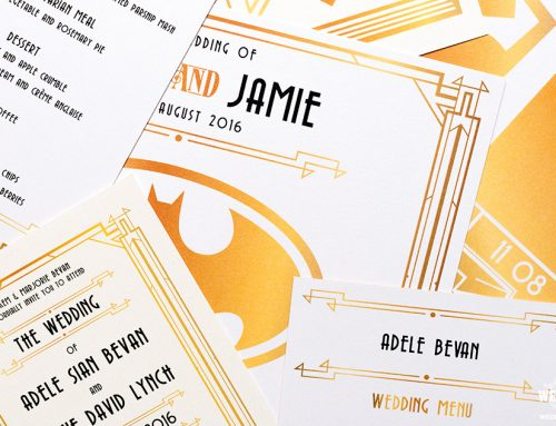 Gatsby Themed Wedding Stationery with a Superhero Twist