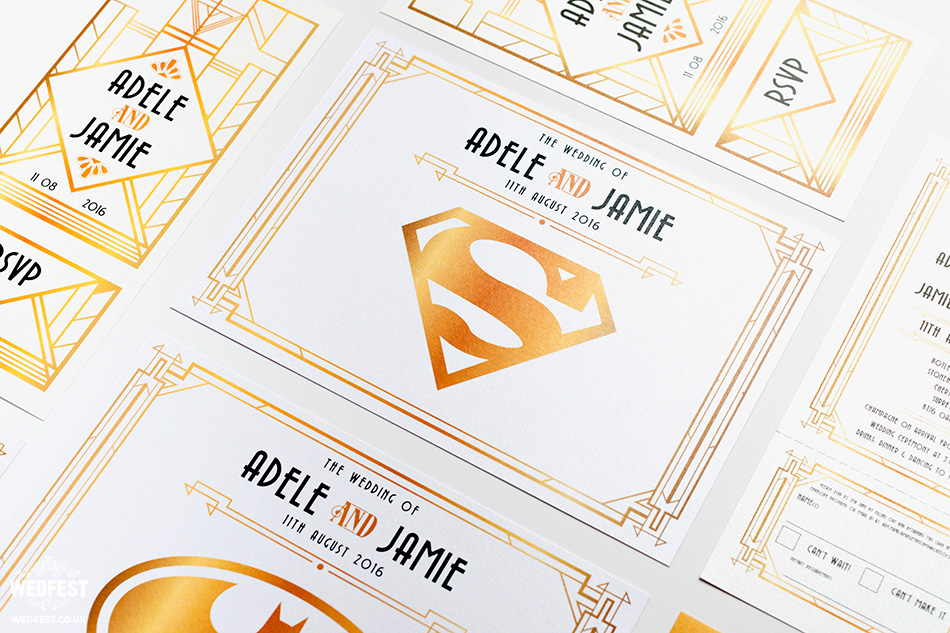 gatsby superhero theme wedding stationery