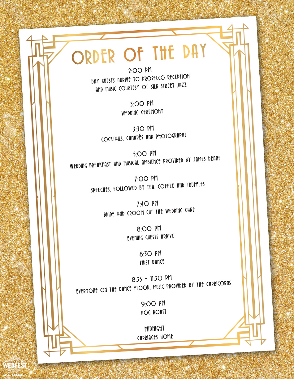 gatsby wedding order of service