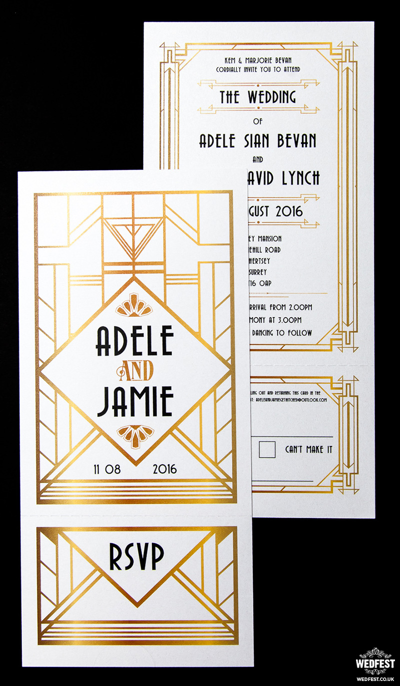 great gatsby themed wedding invitation