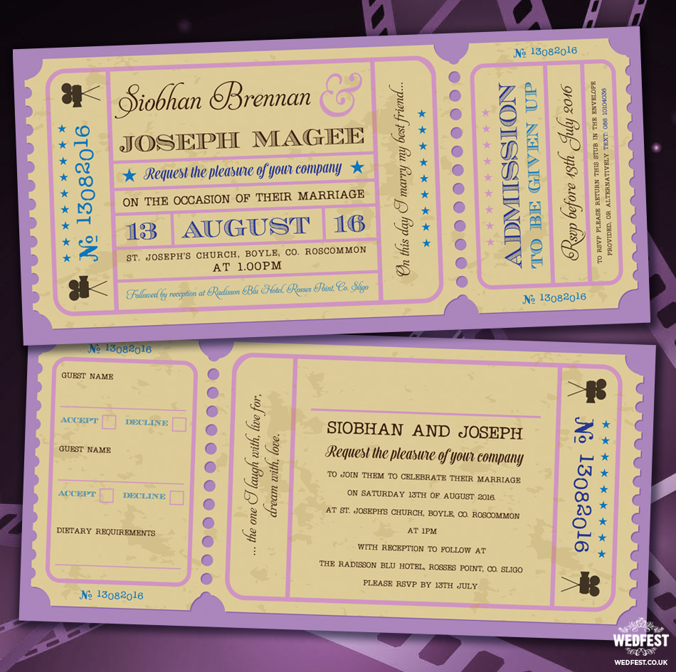 movie cinema ticket wedding invitations