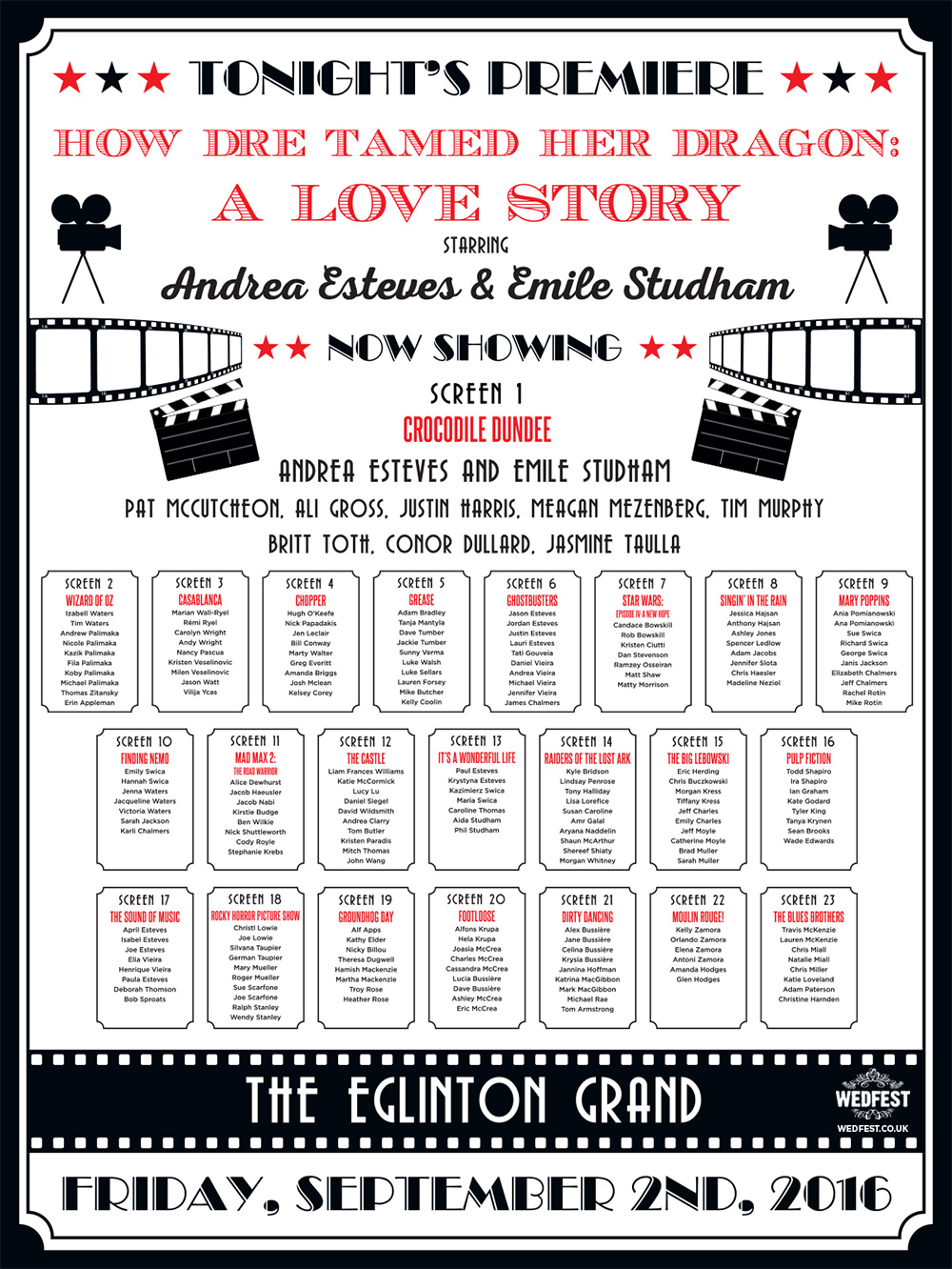 movie names wedding table and seating planner