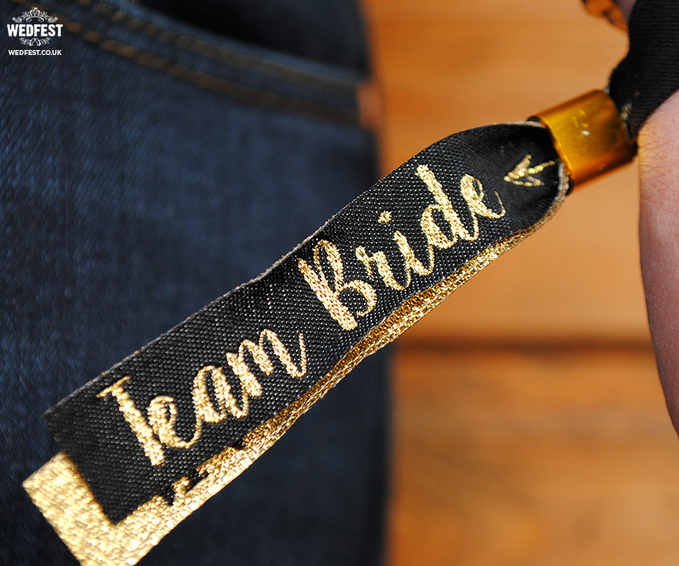 team bride black gold wristband