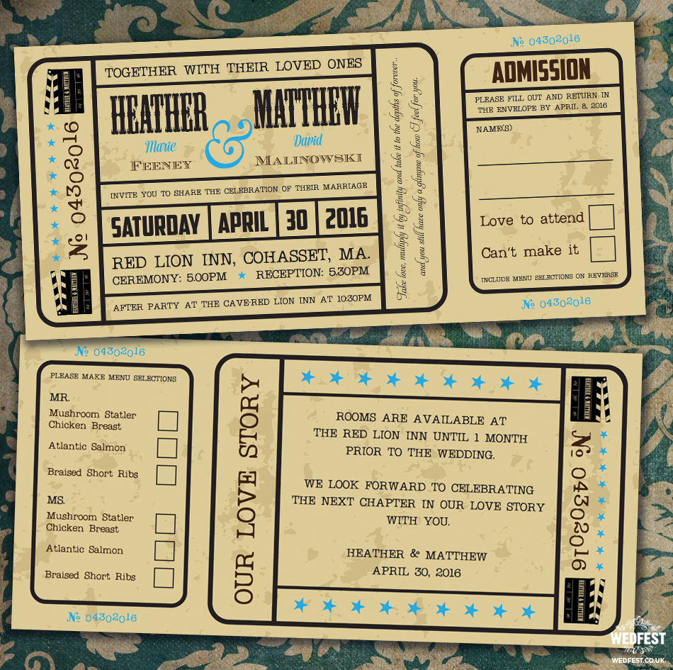 vintage movie ticket wedding invite