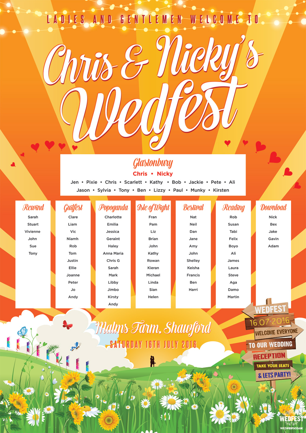 chris nicky wedfest festival wedding table plan