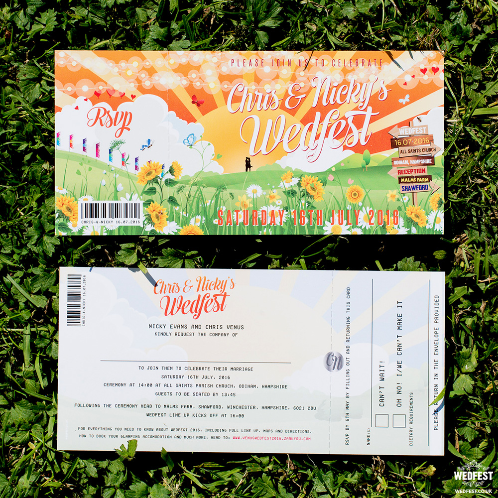 festival ticket wedding invite