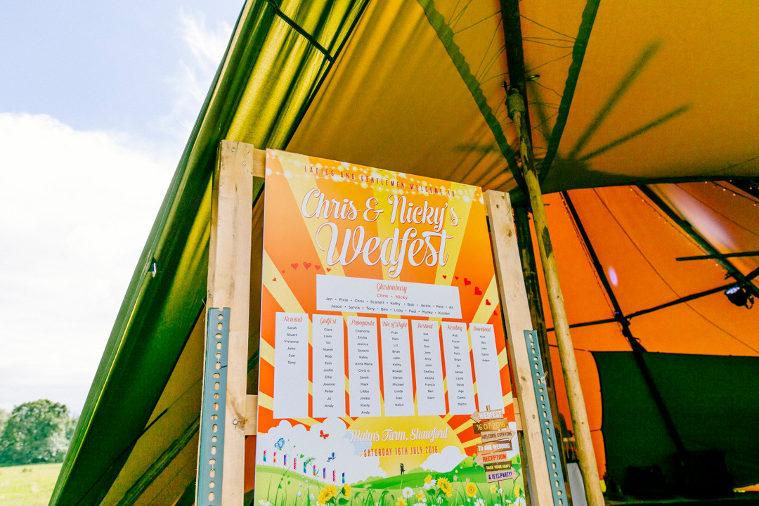 glastonbury festival wedding table plan