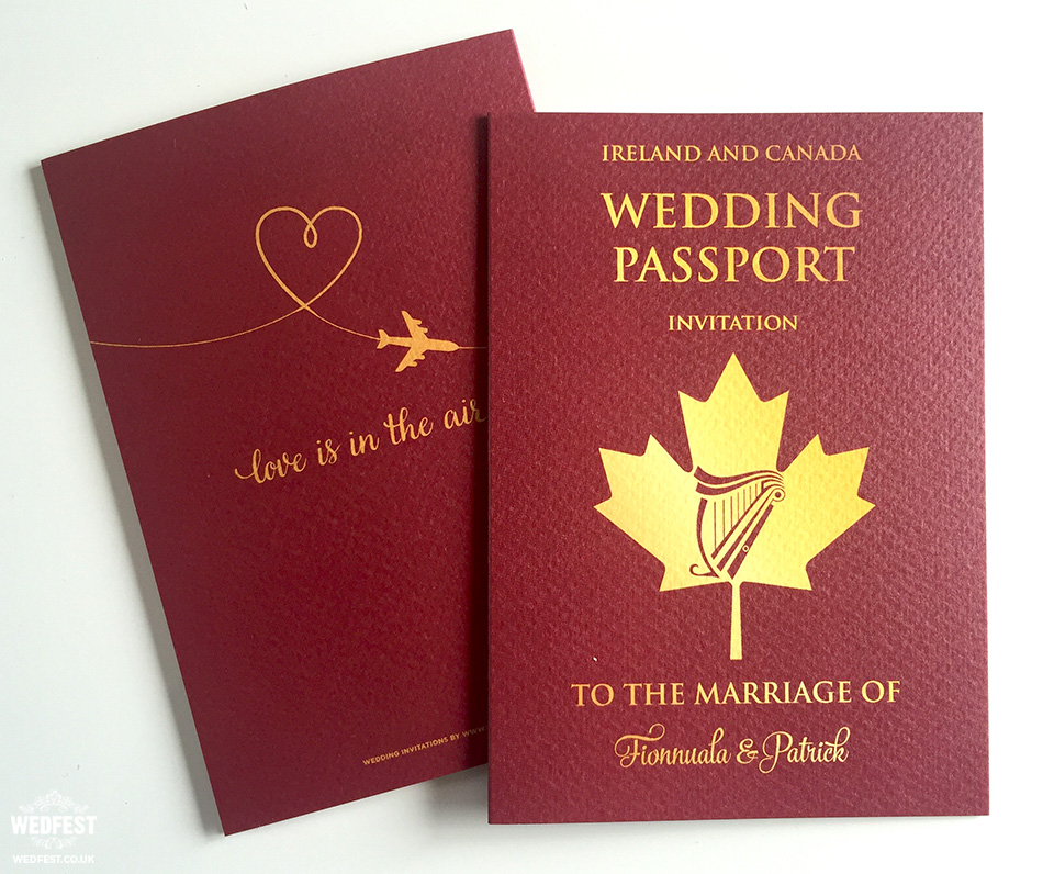 irish passport wedding invitation