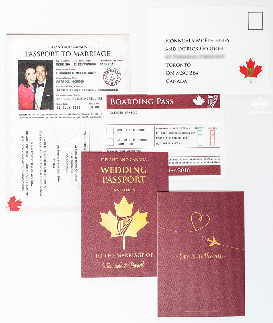 passport wedding invitation set