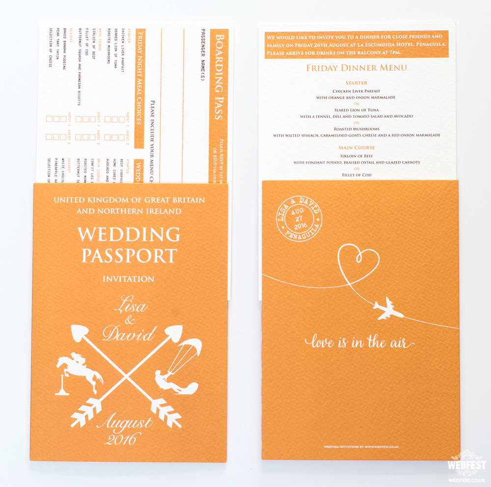 personalised passports wedding invites