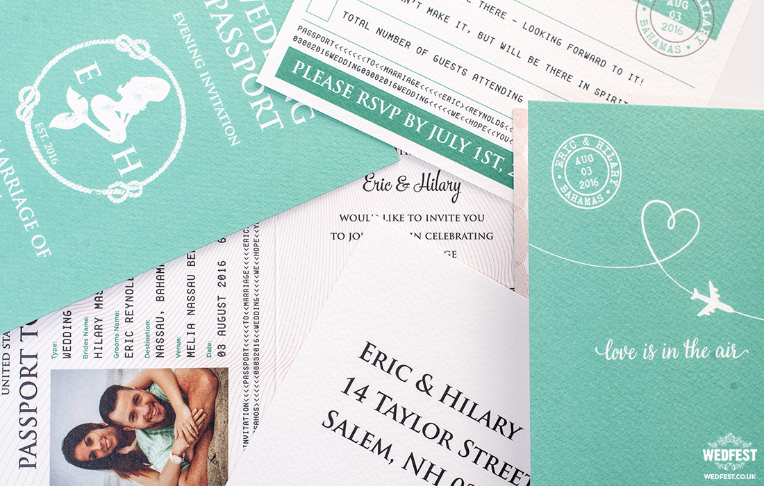 usa bahamas passport wedding invites